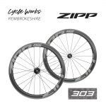 Zipp 303 Firecrest wheels at Cycle Works Pembrokeshire, Wales. Cycling shop