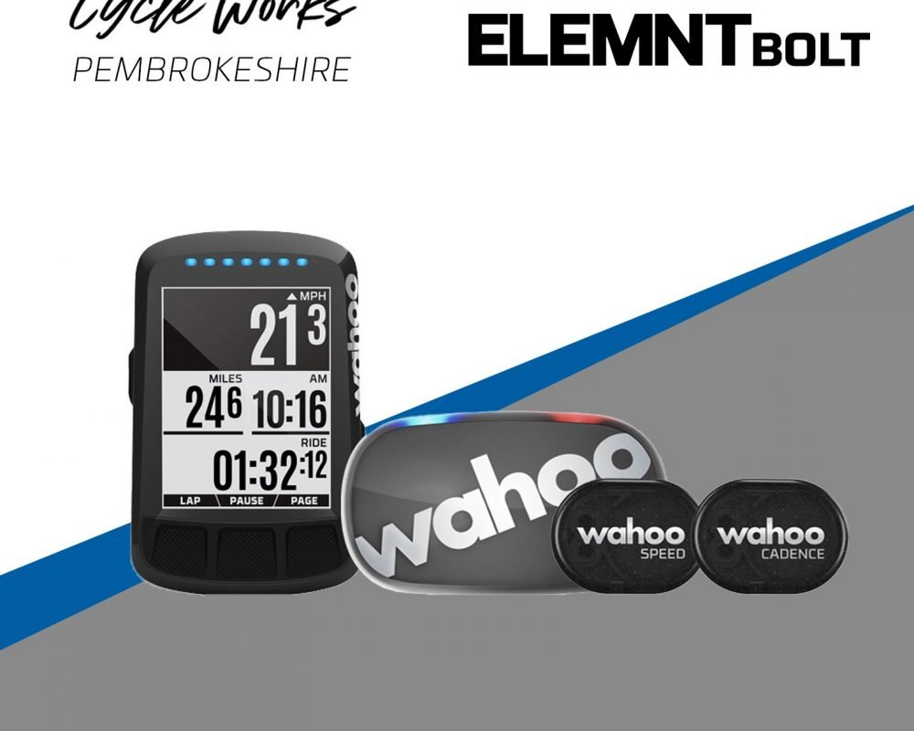 Wahoo Bolt Stealth Bundle 2 with TICKR at Cycle Works Pembrokeshire